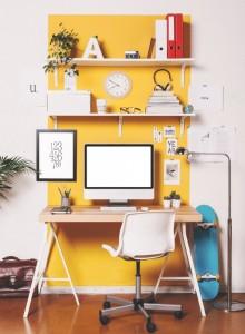 escritorio juvenil amarillo